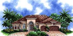 Mediterranean , Florida House Plan 60511 with 3 Beds, 3 Baths, 3 Car Garage Elevation