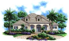 House Plan 60515 | Florida Mediterranean Style Plan with 2855 Sq Ft, 3 Bedrooms, 3 Bathrooms, 2 Car Garage Elevation