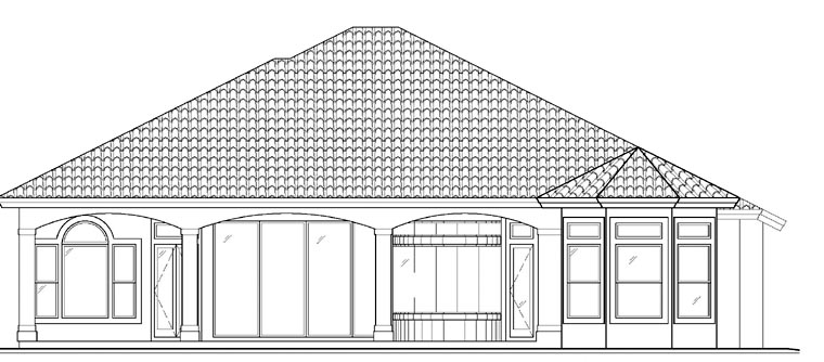 Florida Mediterranean Rear Elevation of Plan 60518