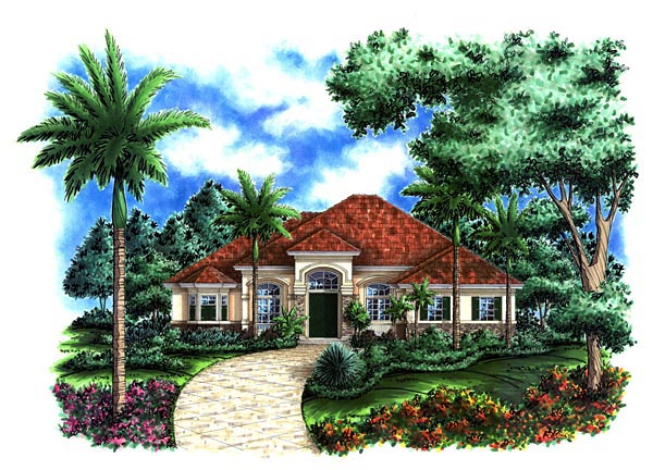 House Plan 60519 | Florida Mediterranean Style Plan with 3089 Sq Ft, 3 Bedrooms, 3 Bathrooms, 3 Car Garage Elevation