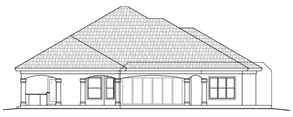 Florida Mediterranean Rear Elevation of Plan 60519