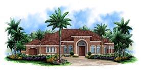 House Plan 60522 | Florida Mediterranean Style Plan with 3517 Sq Ft, 3 Bedrooms, 4 Bathrooms, 3 Car Garage Elevation