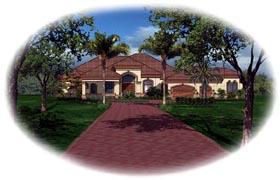 House Plan 60525 | Florida Mediterranean Style Plan with 4058 Sq Ft, 3 Bedrooms, 4 Bathrooms, 3 Car Garage Elevation