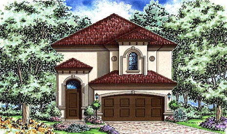 Florida, Mediterranean House Plan 60526 with 2 Beds , 3 Baths , 2 Car Garage Elevation
