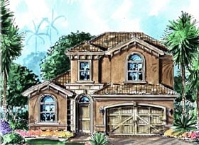 Florida , Mediterranean House Plan 60527 with 3 Beds, 3 Baths, 2 Car Garage Elevation
