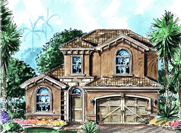 Florida, Mediterranean House Plan 60527 with 3 Beds, 3 Baths, 2 Car Garage Elevation