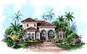 House Plan 60531 | Florida Mediterranean Style Plan with 2931 Sq Ft, 3 Bedrooms, 3 Bathrooms, 2 Car Garage Elevation