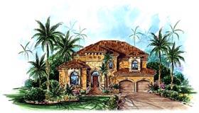 House Plan 60536 | Florida Mediterranean Style Plan with 3051 Sq Ft, 4 Bedrooms, 4 Bathrooms, 2 Car Garage Elevation