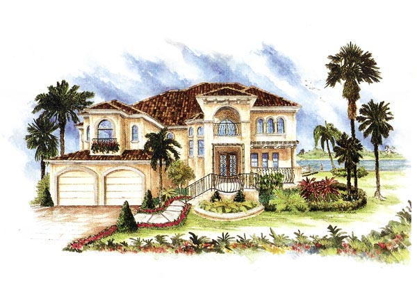 House Plan 60541 | Florida Mediterranean Style Plan with 3448 Sq Ft, 4 Bedrooms, 4 Bathrooms, 3 Car Garage Elevation