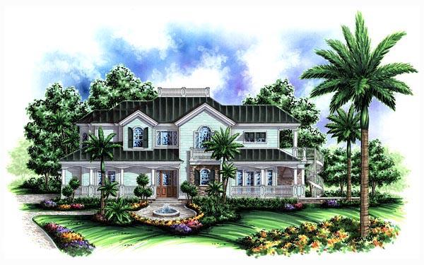 House Plan 60544 | Florida Mediterranean Style Plan with 3522 Sq Ft, 3 Bedrooms, 5 Bathrooms, 3 Car Garage Elevation