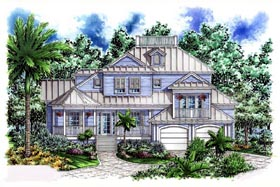 House Plan 60546 | Florida Style Plan with 3645 Sq Ft, 4 Bedrooms, 4 Bathrooms, 2 Car Garage Elevation