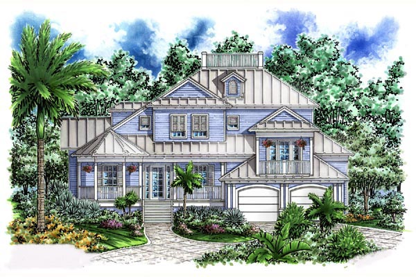 Florida House Plan 60546 with 4 Beds, 4 Baths, 2 Car Garage Elevation