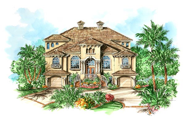 Florida, Mediterranean House Plan 60547 with 3 Beds, 3 Baths, 4 Car Garage Elevation