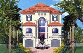 House Plan 60548 | Florida, Mediterranean Style House Plan with 3763 Sq Ft, 4 Bed, 3 Bath, 4 Car Garage Elevation