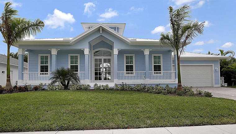 Florida, House Plan 60557 with 3 Beds, 2 Baths, 2 Car Garage Elevation