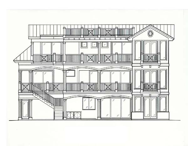 Coastal Florida Rear Elevation of Plan 60560