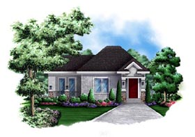 Cottage , Craftsman House Plan 60564 with 1 Beds, 1 Baths Elevation