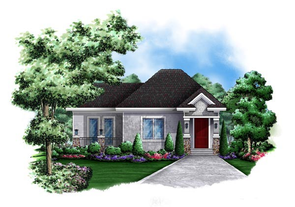 Cottage , Craftsman , Elevation of Plan 60564