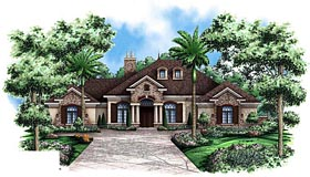 House Plan 60567 | French Country Style Plan with 3242 Sq Ft, 3 Bedrooms, 4 Bathrooms, 3 Car Garage Elevation