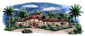House Plan 60570 | Mediterranean Style Plan with 3402 Sq Ft, 4 Bedrooms, 5 Bathrooms, 3 Car Garage Elevation