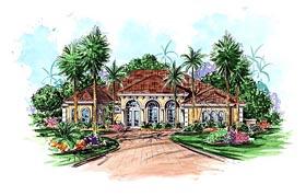 Mediterranean House Plan 60571 with 3 Beds, 4 Baths, 2 Car Garage Elevation