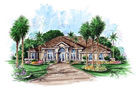 Southern , Contemporary House Plan 60573 with 3 Beds, 3 Baths, 2 Car Garage Elevation