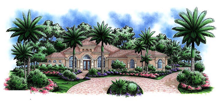 Mediterranean House Plan 60574 with 4 Beds, 5 Baths, 3 Car Garage Elevation