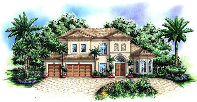 Coastal House Plan 60580 with 4 Beds, 5 Baths, 3 Car Garage Elevation