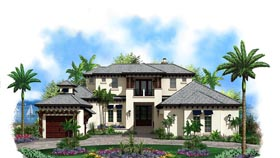 Florida House Plan 60584 with 4 Beds, 5 Baths, 3 Car Garage Elevation