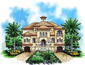 Mediterranean House Plan 60586 with 4 Beds, 6 Baths, 4 Car Garage Elevation