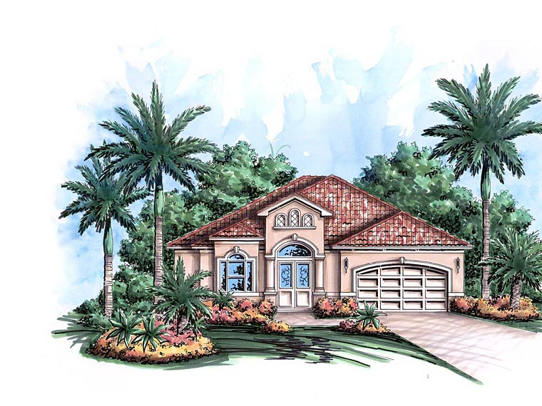 House Plan 60588 with 3 Beds, 2 Baths, 2 Car Garage Elevation