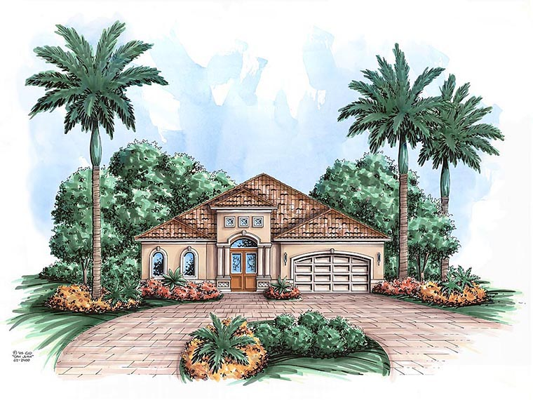 House Plan 60591 | Mediterranean Style House Plan with 2400 Sq Ft, 3 Bed, 2 Bath, 2 Car Garage Elevation