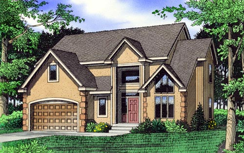 House Plan 60619 | Style Plan with 3000 Sq Ft, 3 Bedrooms, 3 Bathrooms, 2 Car Garage Elevation