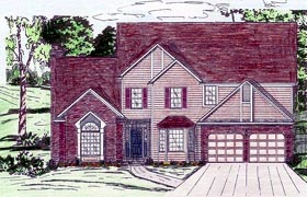 House Plan 60620   Style Plan with 2950 Sq Ft, 4 Bedrooms, 3 Bathrooms, 2 Car Garage Elevation