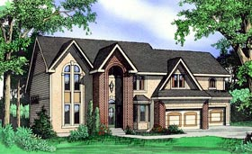 House Plan 60621 | Style Plan with 2821 Sq Ft, 4 Bedrooms, 5 Bathrooms, 3 Car Garage Elevation