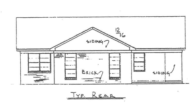 House Plan 60635 with 3 Beds, 2 Baths Rear Elevation