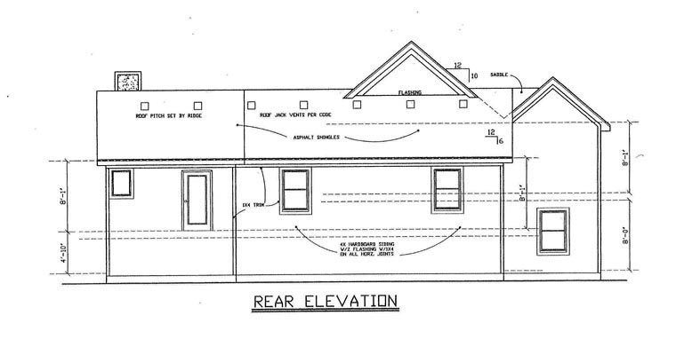 House Plan 60638 Rear Elevation