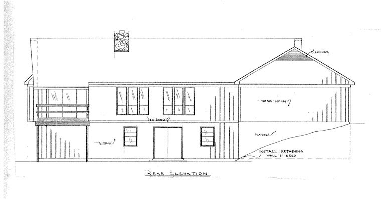 Rear Elevation of Plan 60640