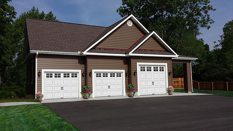 Traditional 4 Car Garage Plan 60641 Elevation