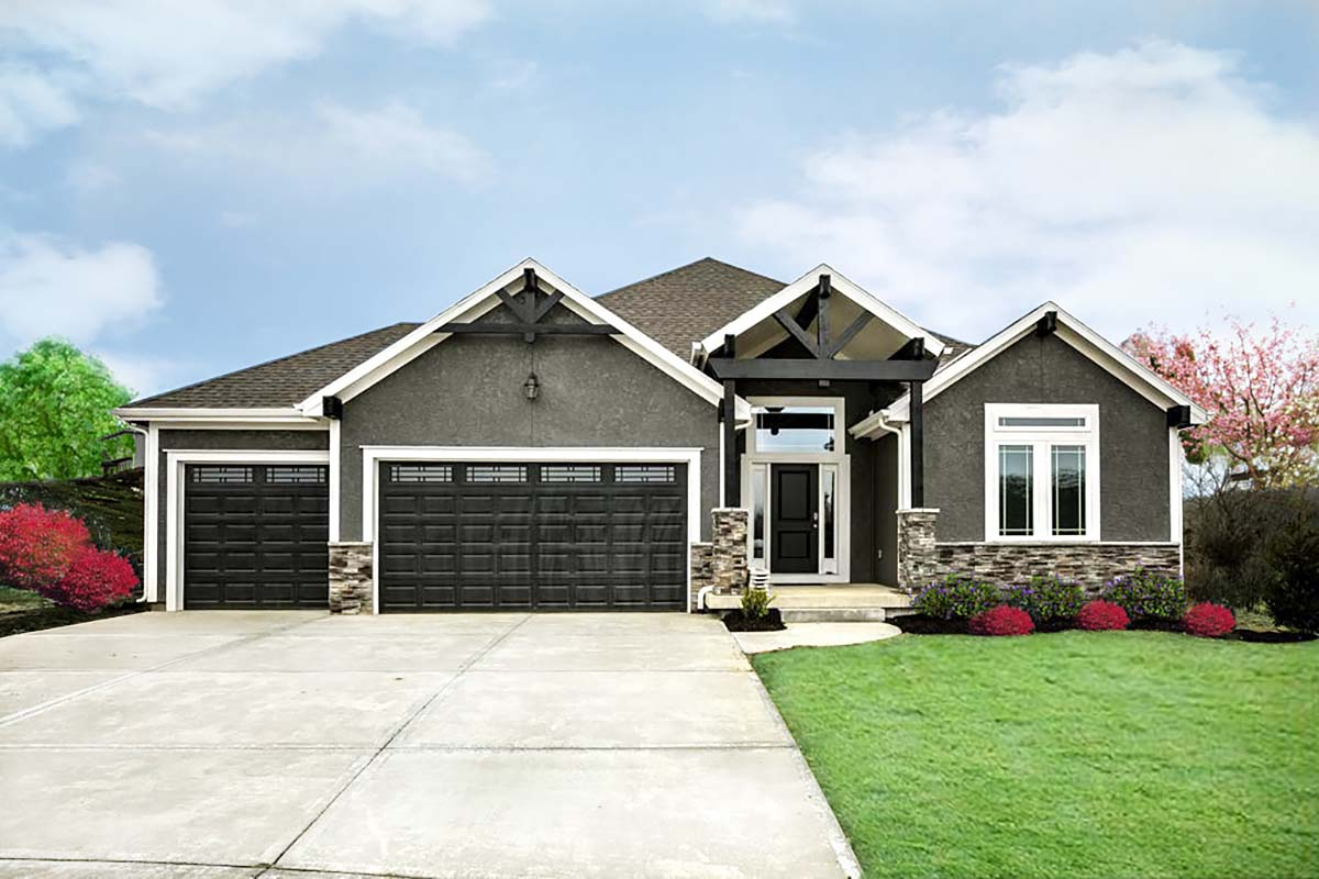 Traditional House Plan 60661 with 4 Beds , 3 Baths , 3 Car Garage Elevation