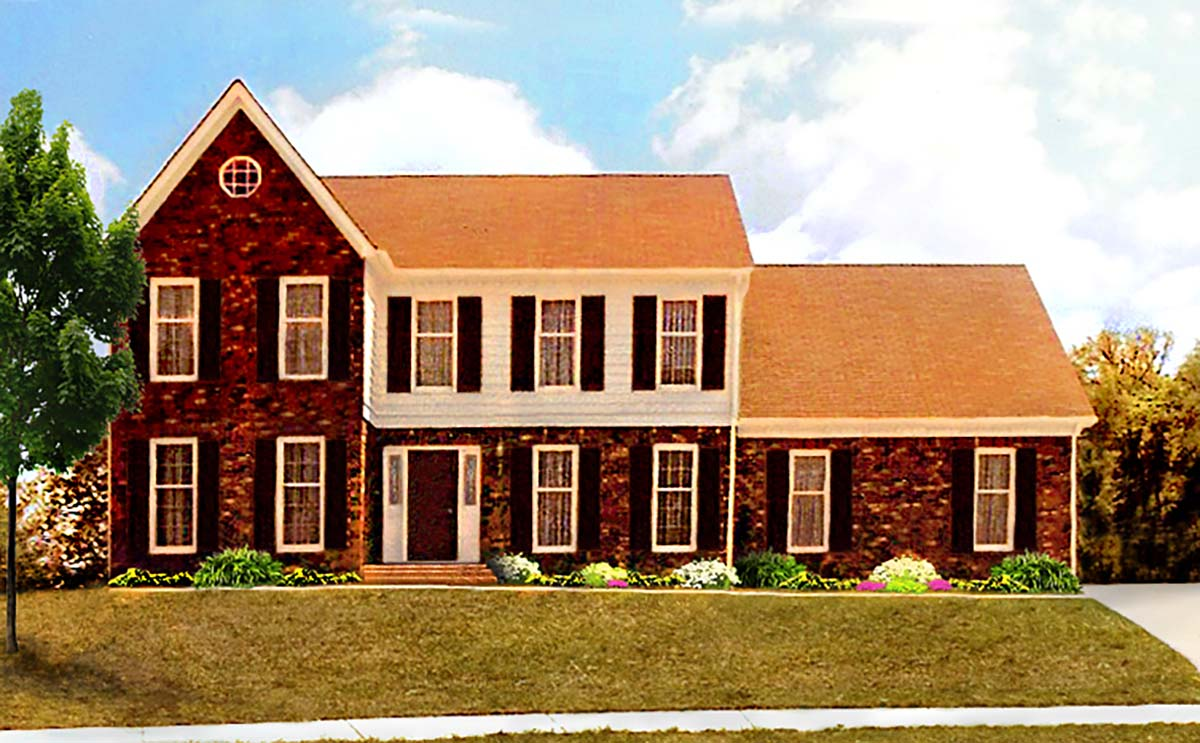 Traditional House Plan 60664 with 4 Beds, 3 Baths, 2 Car Garage Elevation