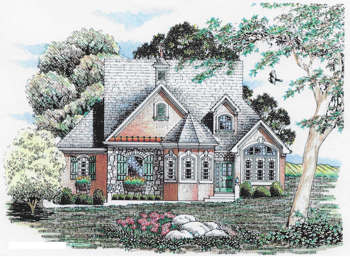 Traditional House Plan 60671 with 3 Beds, 3 Baths, 2 Car Garage Elevation