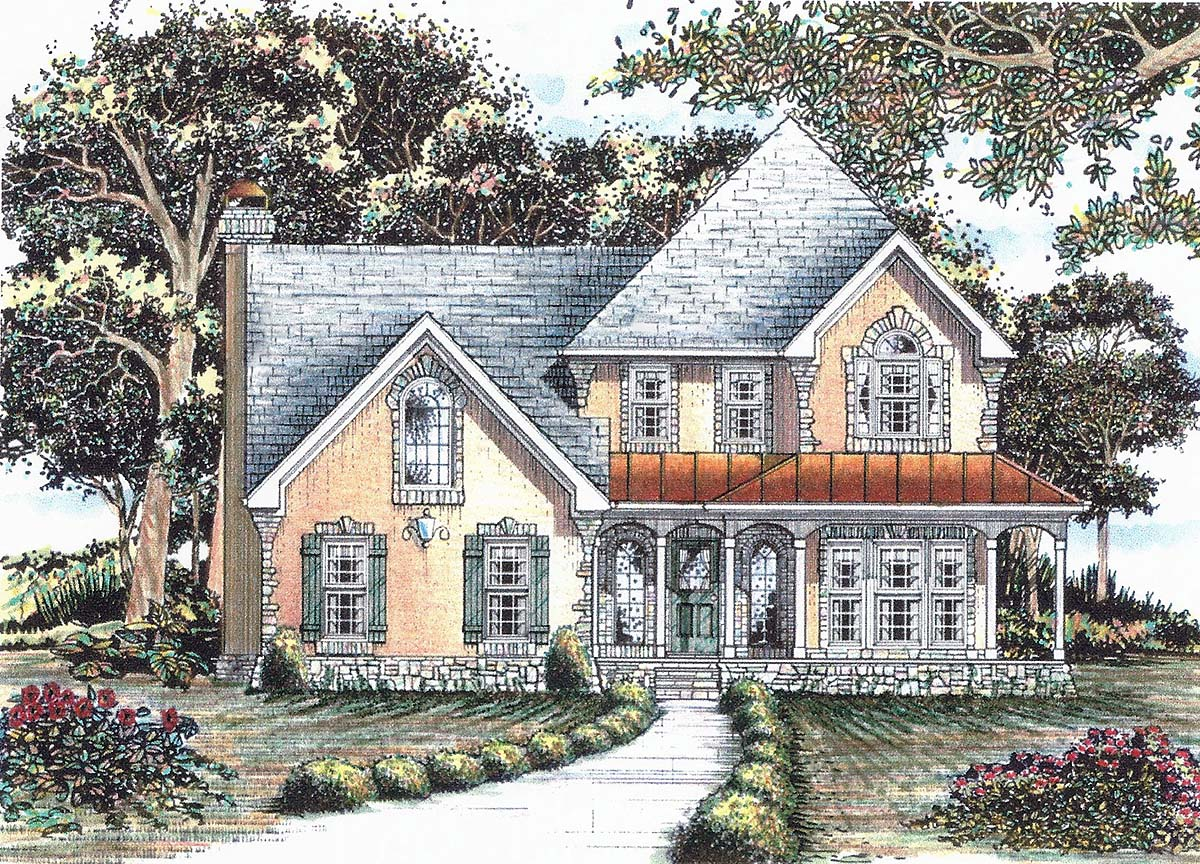 Country, Traditional House Plan 60673 with 5 Beds, 5 Baths, 2 Car Garage Front Elevation