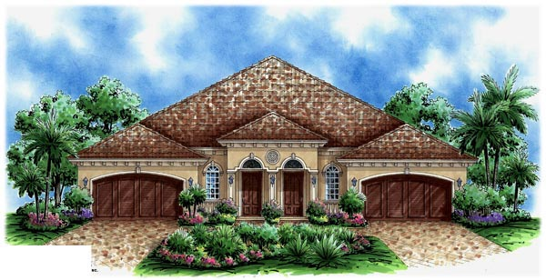 Florida Multi-Family Plan 60704 with 6 Beds, 4 Baths, 4 Car Garage Elevation