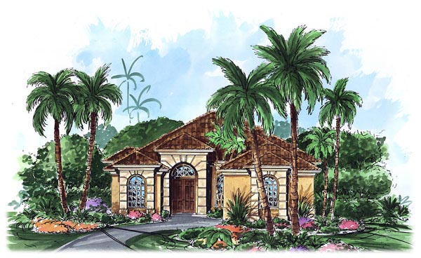 Mediterranean House Plan 60706 with 3 Beds, 3 Baths, 2 Car Garage Elevation