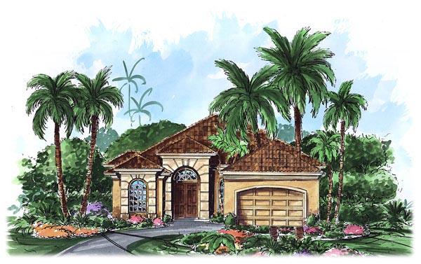 Mediterranean House Plan 60707 with 3 Beds, 3 Baths, 2 Car Garage Elevation