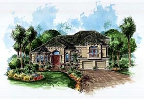 House Plan 60729 | Mediterranean Style Plan with 3609 Sq Ft, 4 Bedrooms, 3 Bathrooms, 2 Car Garage Elevation