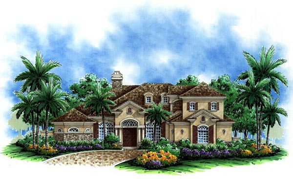 Mediterranean House Plan 60730 with 4 Beds, 4 Baths, 3 Car Garage Elevation