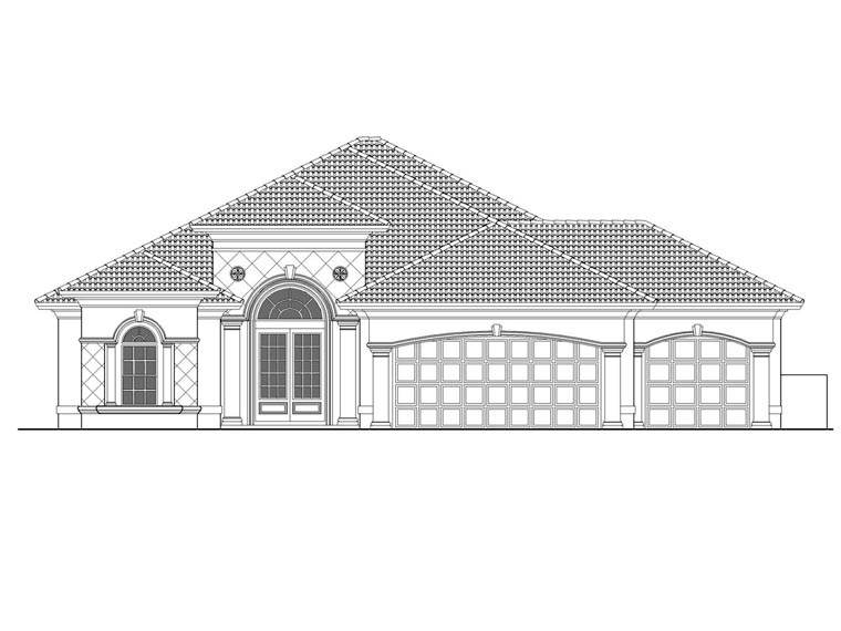 Florida, Mediterranean House Plan 60738 with 3 Beds, 5 Baths, 3 Car Garage Elevation