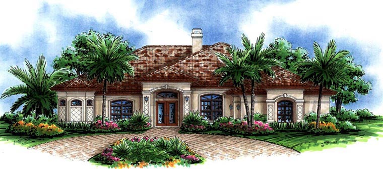 Florida, Mediterranean House Plan 60748 with 4 Beds, 3 Baths, 3 Car Garage